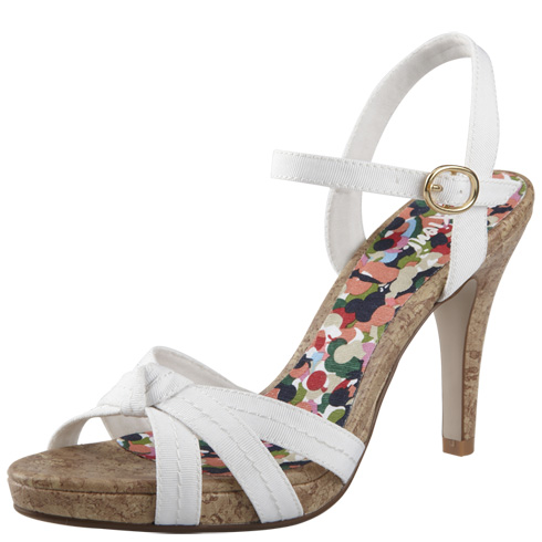 Cheap and cheerful vegan white high heeled sandals