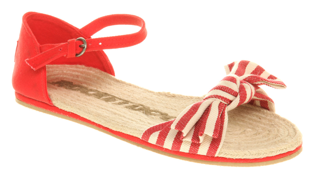 Vegan red and stripy espadrille sandals