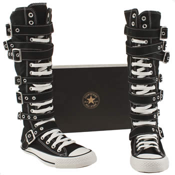 Vegan knee high converse boots with buckles and straps