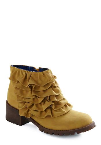 Cute vegan ruffle ankle boots