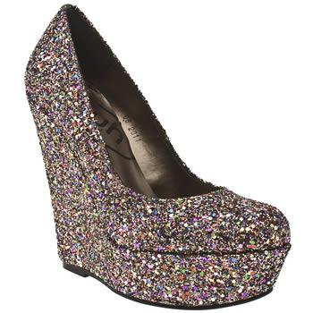 Crazy big vegan glitter wedge heels