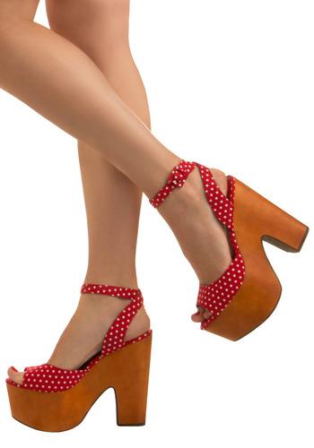 Crazy high polka dot vegan sandals