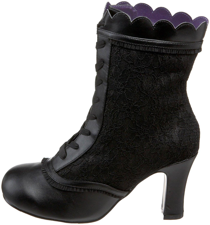 Vegan black lace steampunk ankle boots