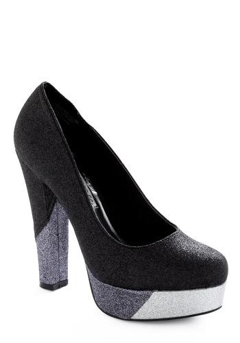 Sparkly colourblock vegan glitter heel