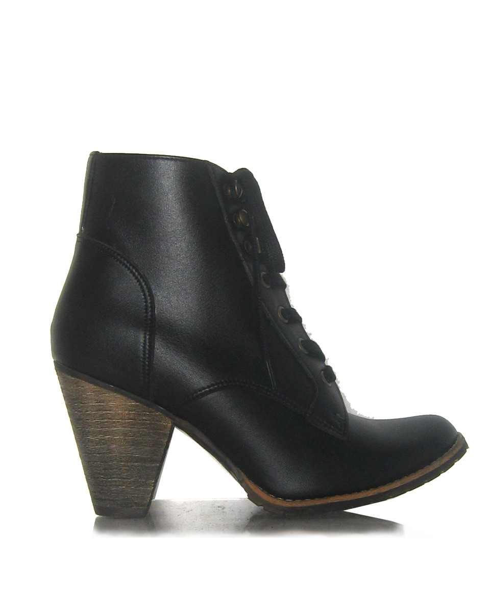 Funky cone-heeled vegan ankle boots