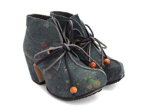 Unusual vegan designer platform ankle boots