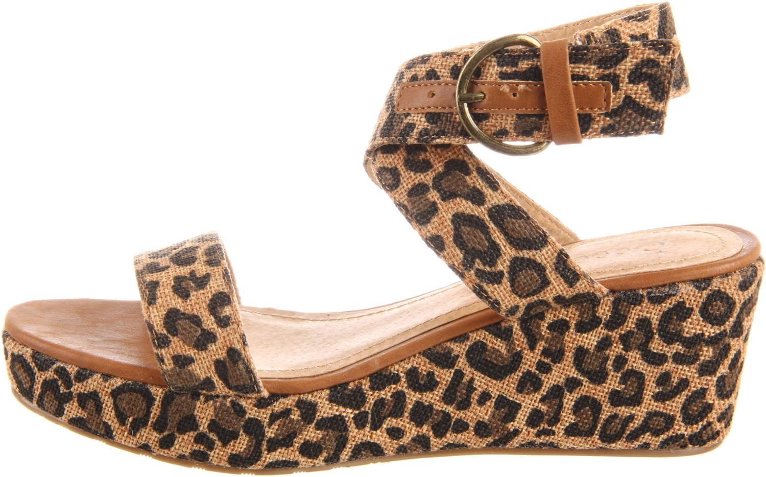 Vegan leopard print wedge sandals