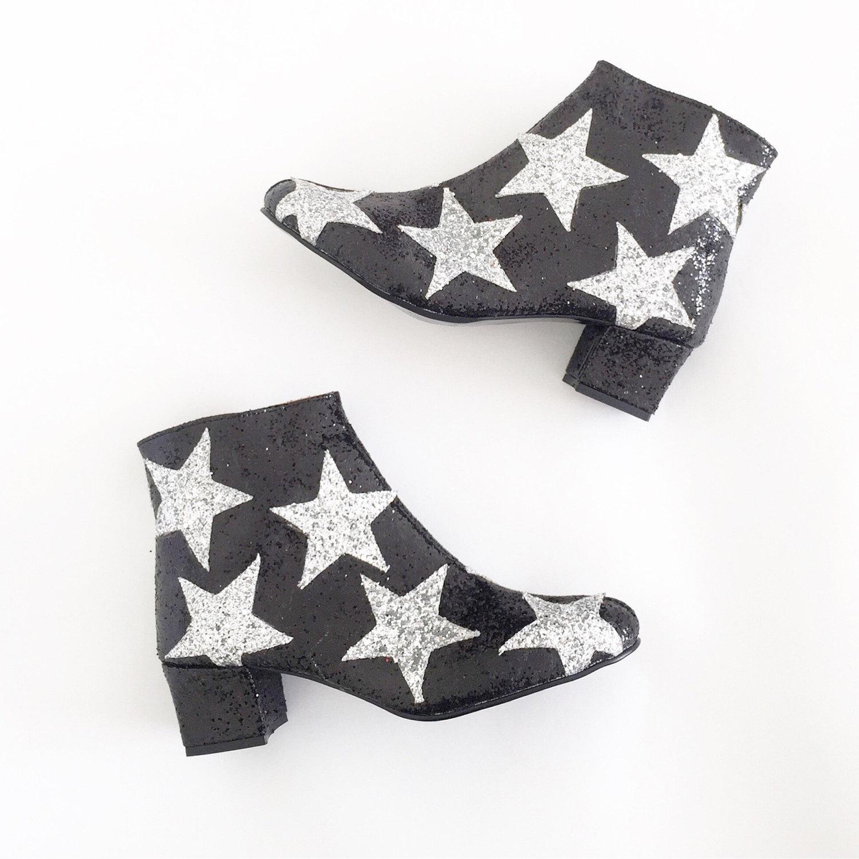 Ultra Glam Black Vegan Boots with Stars